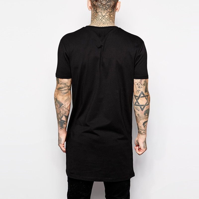 2018 Brand New Clothing Mens Black Long t shirt Men Tops Hip hop tee T shirt  Men Hiphop Short Sleeve Longline casual Tee shirts-in T-Shirts from Men s  ... c39e489ef67