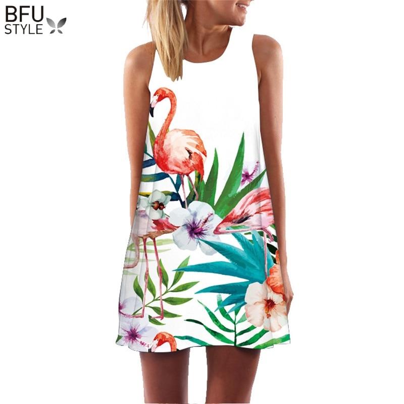 2018 Summer Dress Floral Print Boho Dresses For Women Casual Beach Sundress Sleeveless Flamingo Chiffon Dress Vestidos De Fiesta