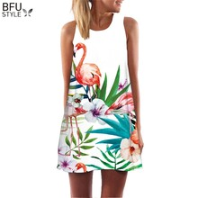 2019 Summer Dress Floral Print Boho Dresses For Women Casual Beach Sundress Sleeveless Flamingo Chiffon Dress Vestidos De Fiesta(China)