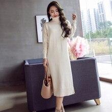 3e5ffda2e5 Fashion women elegant temperament bouncy knit dress work style new arrival korean  OL solid thick warm