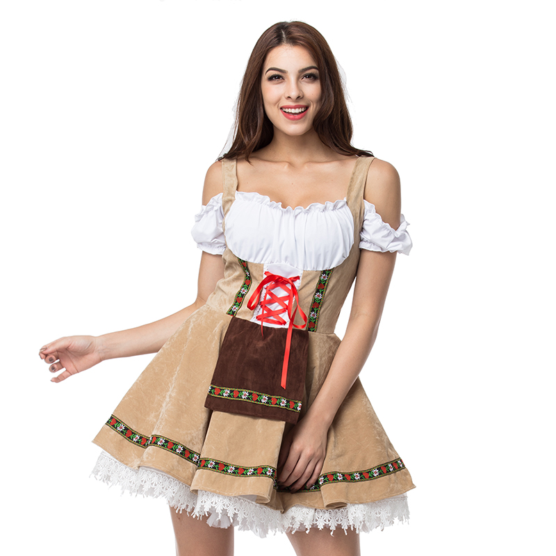 3XL Plus Size Beige/White Oktoberfest Fancy Dress Cosplay Adult Beer Girl Costume Sexy Deguisement Halloween Costumes For Women