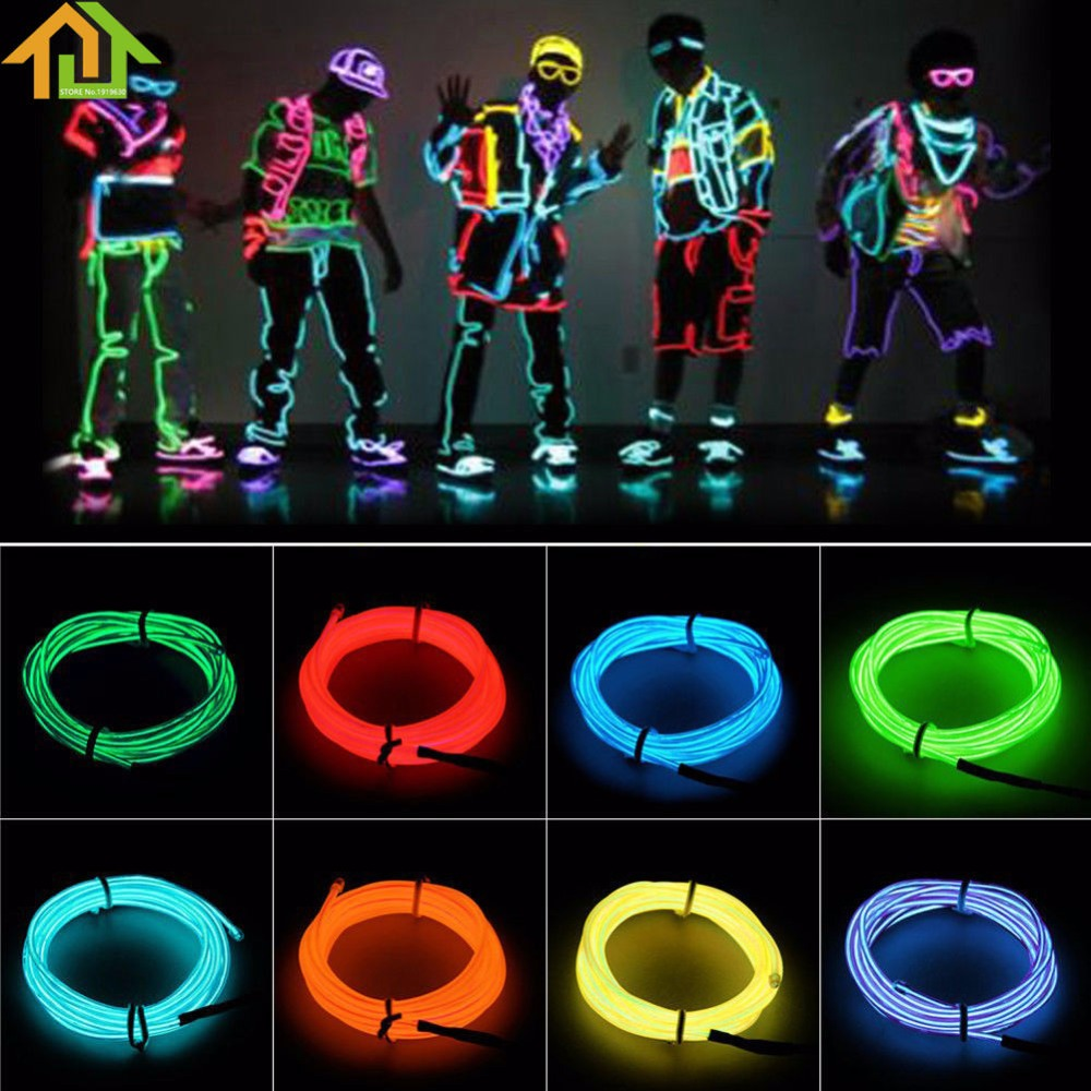 5m flexible glow el wire rope cable strip led neon. Black Bedroom Furniture Sets. Home Design Ideas