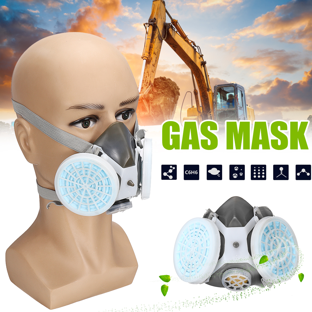 Safety Respiratory Anti-Dust Gas Mask Half Face Paint Spraying Industrial Filter Outdoor Anti-fog PM2.5 Mask Respirator safety respiratory gas mask half face filter anti dust smoke protective mask for painting spraying industrial pesticide chemical