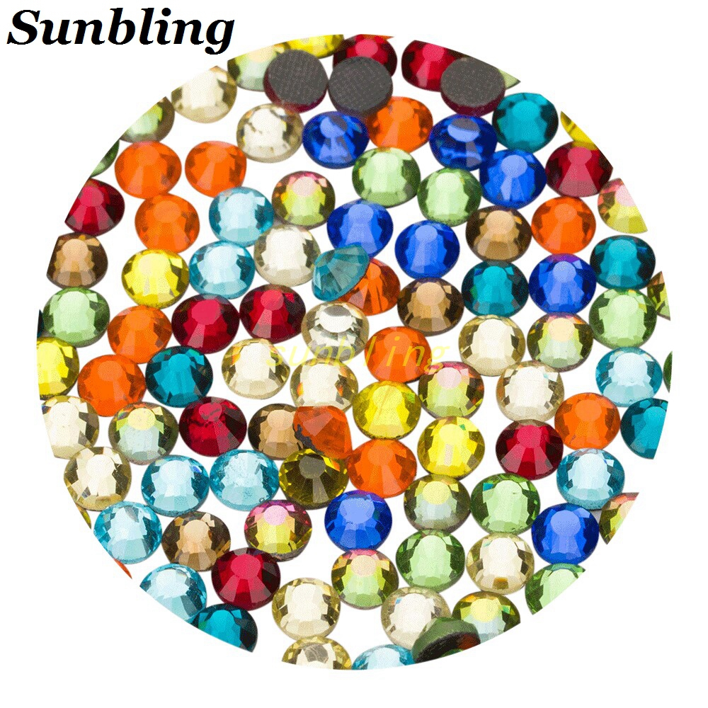 Sunbling Hot Fix Rhinestone High Quality DMC Bright SS6 10 16 20 30 5 Mixed Size Iron On Crystal For Women Clothes Decoration