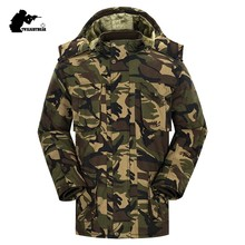 New Mens Camouflage Parkas Winter Military Hooded Thicken Fleece Army Cotton Padded Clothes Men Windproof Long Overcoat CY05(China)