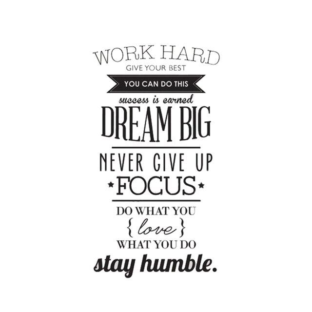 Werk Hard Dream Big Quote Muursticker Office Inspirational