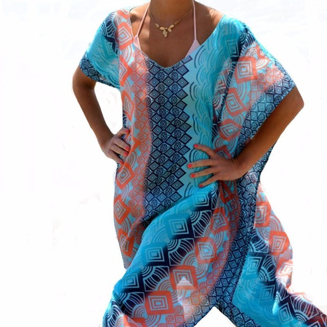 Beach Dress Kaftan Beach Sarongs Sexy Cover-Up Chiffon Bikini Swimwear Tunic Swimsuit Bathing Suit Cover Ups Pareo
