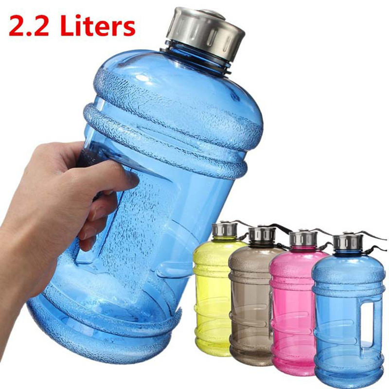 Portable 2.2L <font><b>Large</b></font> <font><b>Capacity</b></font> Water Bottles Outdoor Sports Gym Half Gallon Fitness Training Camping Running Workout Plastic Water