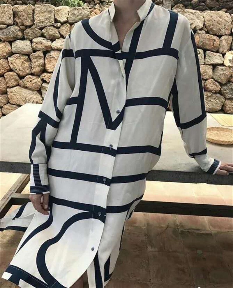 Women Dress Swedish Irregular Striped Geometric Print Dress