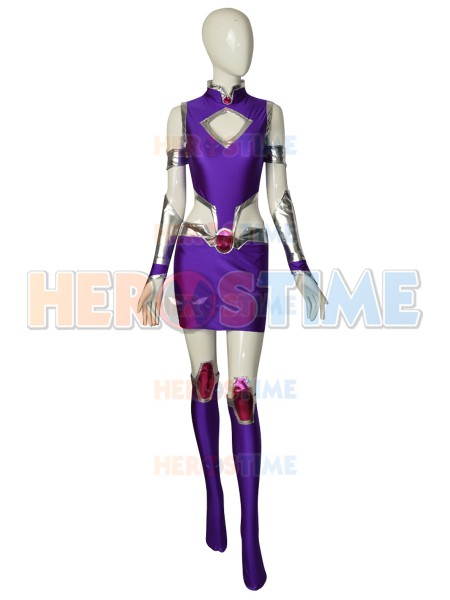 Starfire Spandex Suit Teen Titans Superhero Cosplay Costume Zentai Halloween Party Bodysuit for Adults Kids Girls Women Ladys