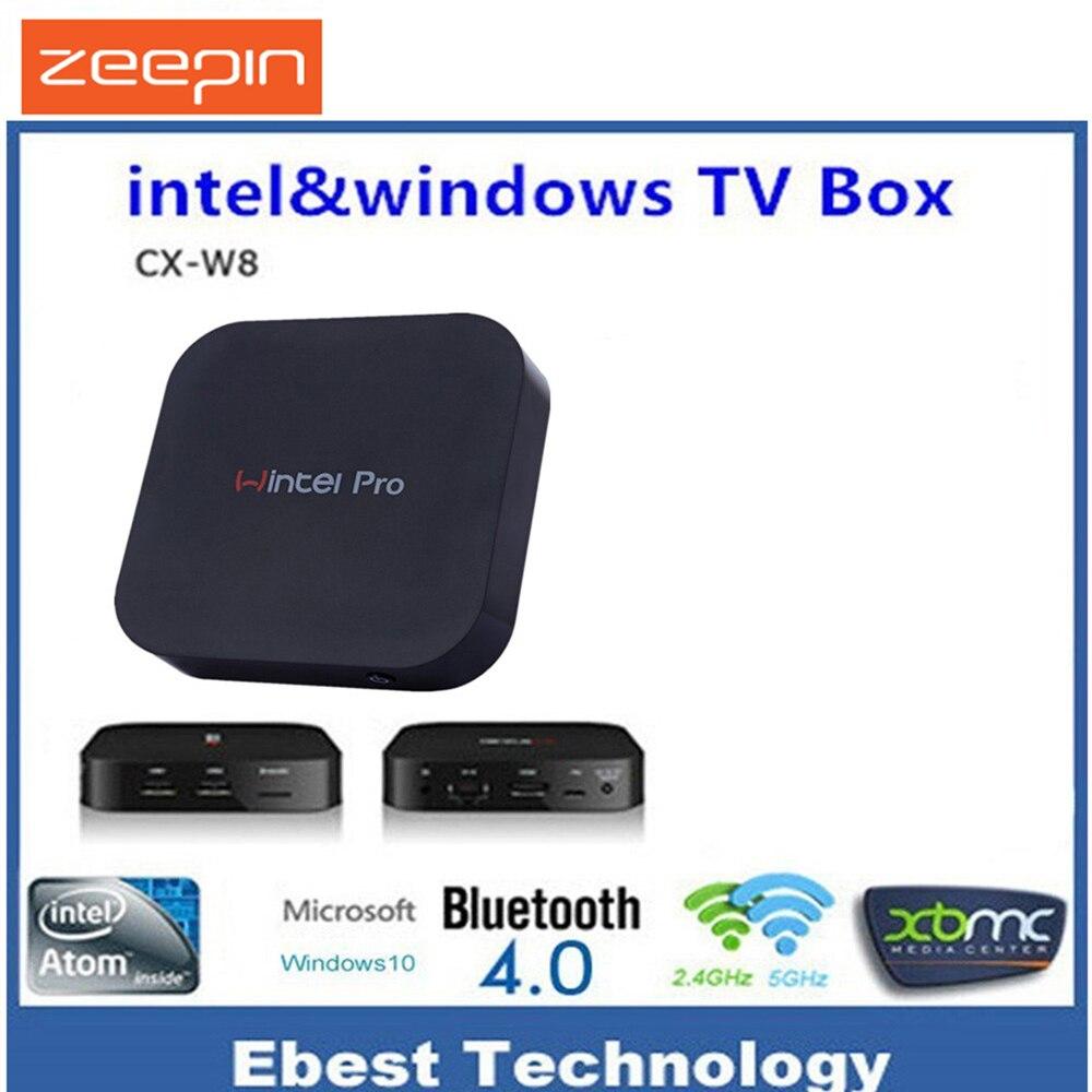 Prix pour Wintel CX W8 Pro Mini PC Windows 10 OS Z8300 CPU 2 GB 32 GB 2.4G Wifi BT4.0 RJ45 100 M Windows Set Top TV Box Smart Media Player