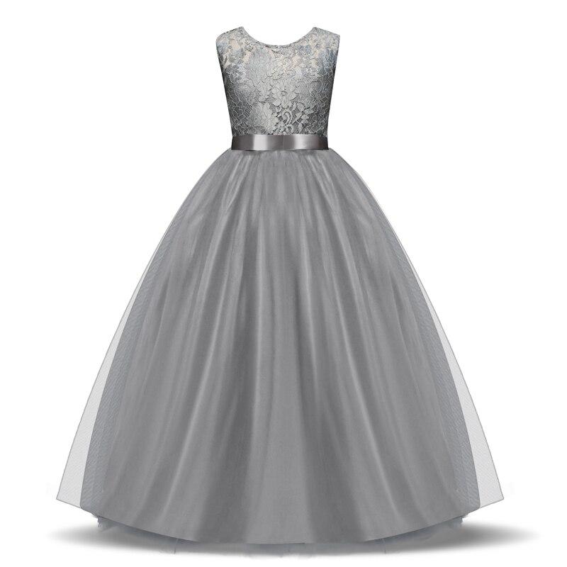 Elegant Flower Girl Dress Teenage White Formal Prom Gown for Wedding Kids Girls Long Dresses Children Clothing New Tutu Princess 2
