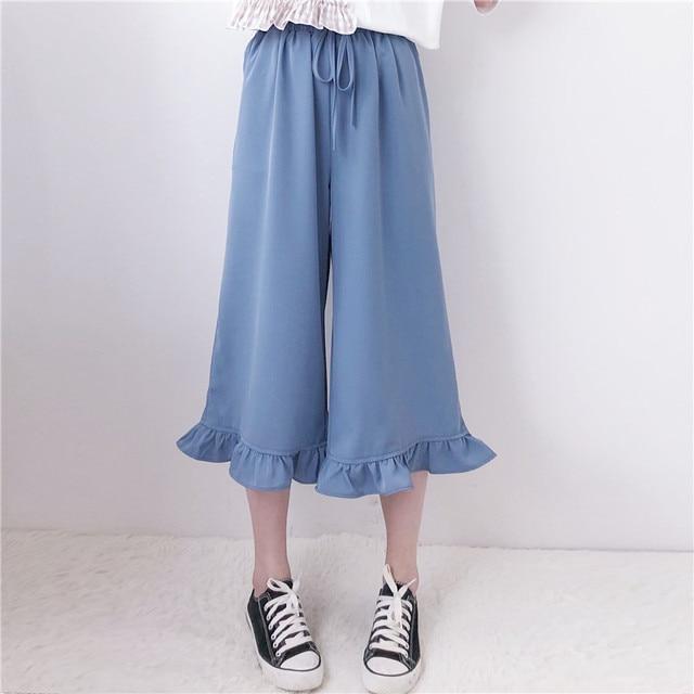 d88617413f88c Women s Trouser Punk Harajuku Ulzzang Wooden Ear Wide Leg Pants High Waist  Casual Female Cute Japan