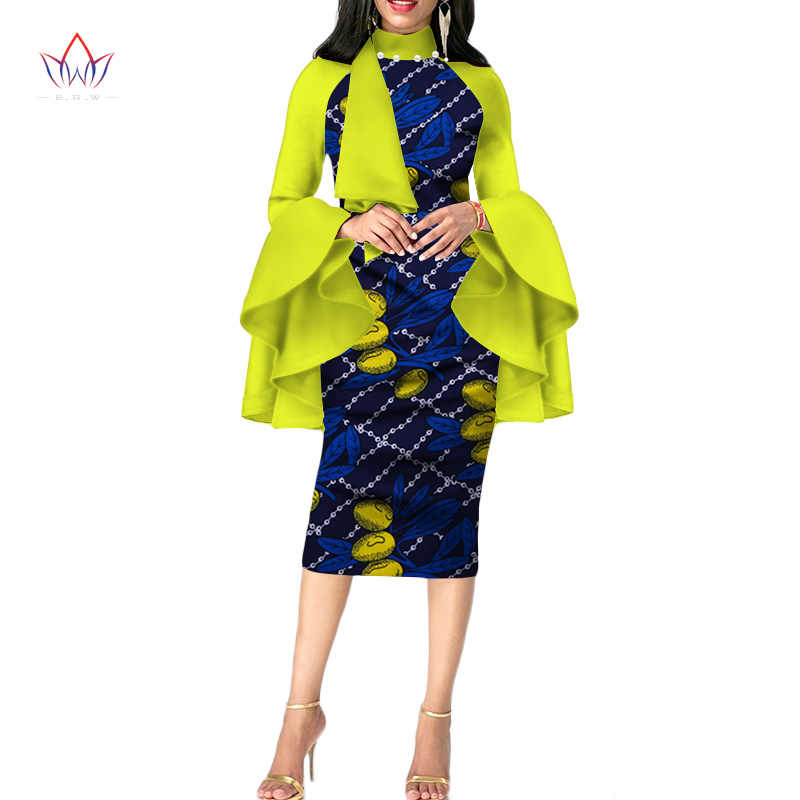 cf4eb7257b100 2019 spring African Clothing full sleeve African Dashiki Plus Size Party  Dresses for Women Halfsleeve Bazine Dress BRW WY2681