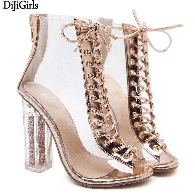 Zapatos De Tacon Altos Sexy Open Toe Ladies Shoes 12cm Transparent Heel  Summer Gold High Heel Sandals Women Party Wedding Shoes 9de4b2bb40d9