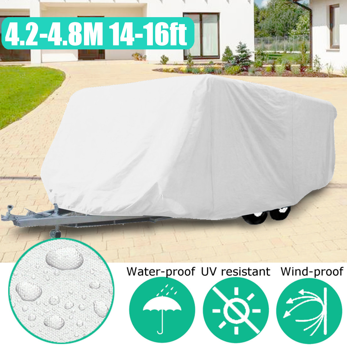 14-16ft Pop Up Folding Waterproof Anti-UV C amper Tent Trailer Storage Cover With Fixed Ring14-16ft Pop Up Folding Waterproof Anti-UV C amper Tent Trailer Storage Cover With Fixed Ring