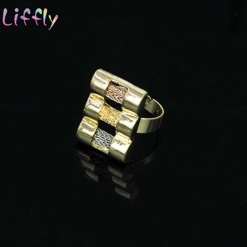 Neue Dubai Gold Schmuck Sets Drei Farbe Ton Halskette Armband Ring Luxus Kristall Afrikanische Hochzeit Schmuck Set