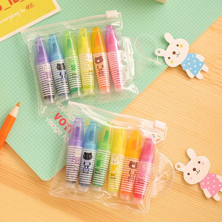 6Pcs Novelty Creative Lovely Cartoon Animal Pens Office School Supply Stationery