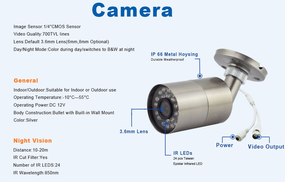 6-700TVL Analog Camera 60-C