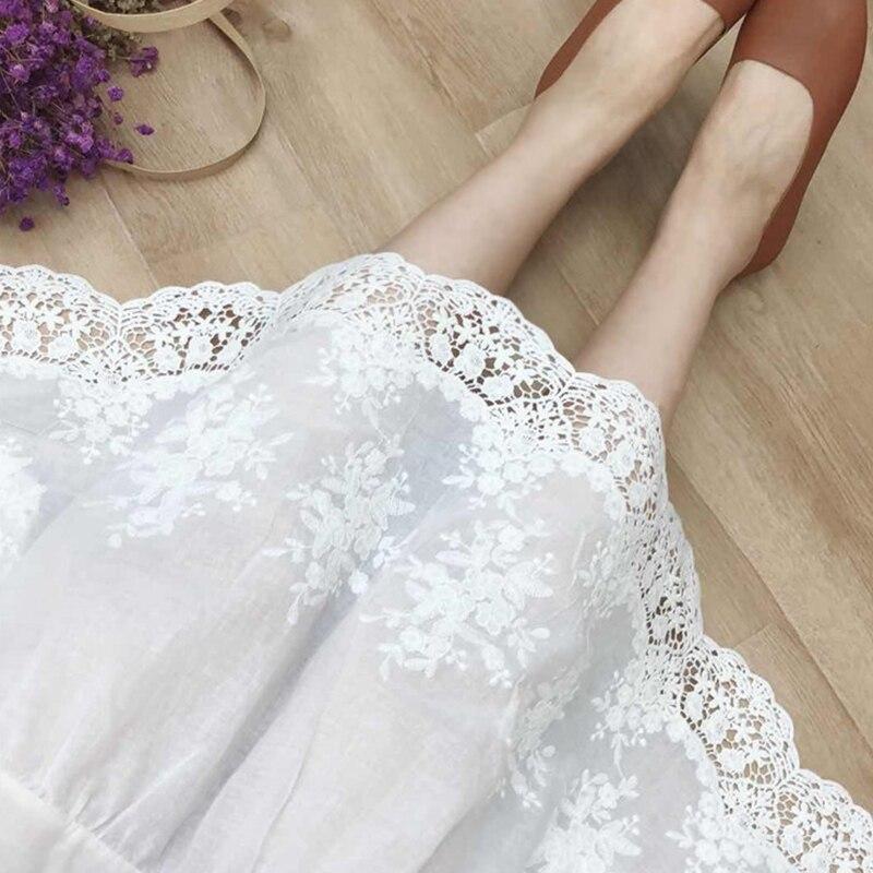 Mori Girl Multi Layer Lace Cotton Skirt Women Fairy Lace Embroidery Elastic Waist Hollow Princess Underskirt Kawaii Skirt Z025