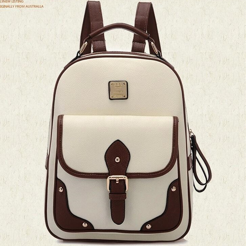 Retro Korean Style Women Leather Backpacks Teenager School Shoulder Bag Vintage Travel Backpack Black Brown Khaki