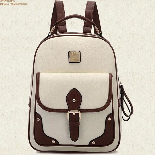 f1d0cad4ea Retro Korean Style Women Leather Backpacks Teenager School Shoulder Bag  Vintage Travel Backpack Black Brown Khaki
