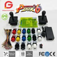 Kit de Arcade DIY PARA 2 JUGADORES, caja Pandora 6 1300 en 1, tablero de juegos para el hogar y Joystick americano, botón de estilo HAPP para máquina de Arcade