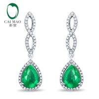 14K White Gold 1.12ct 5x7mm Pear Cut Emerald Diamond Engagment Earrings Caimao Jewelry