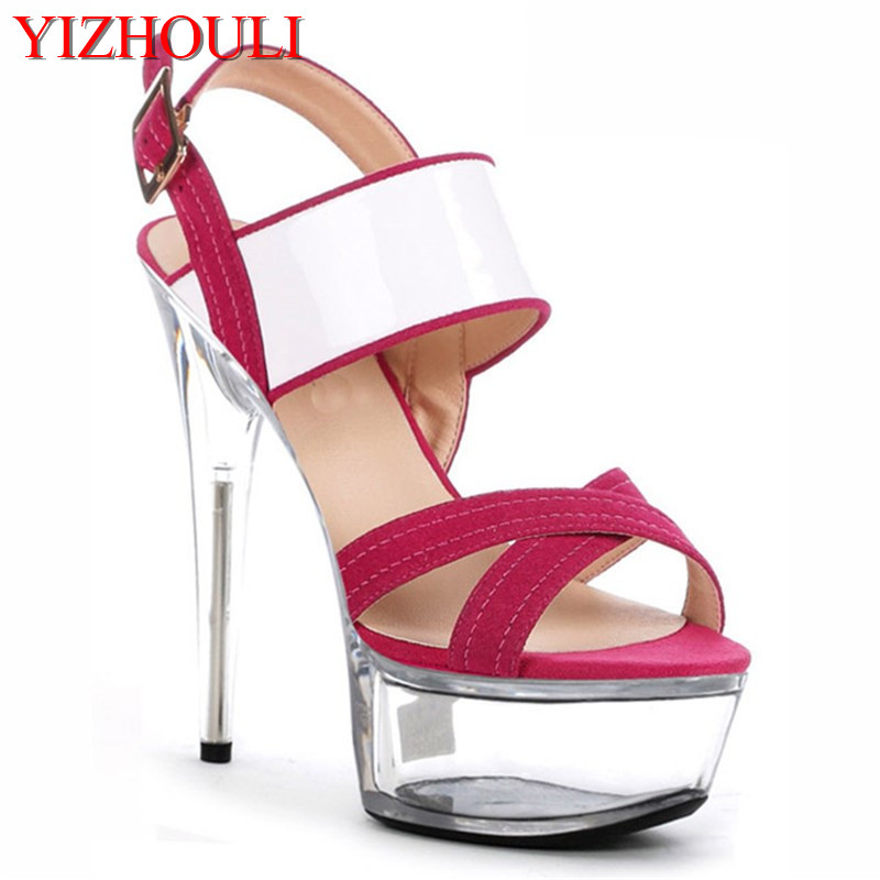 78b45468304 Fashion 6 Inch Platform Sandals 2018 New Ladies Crystal Shoes 15cm High  Heel Sandals Sexy White Pink Dress Shoes