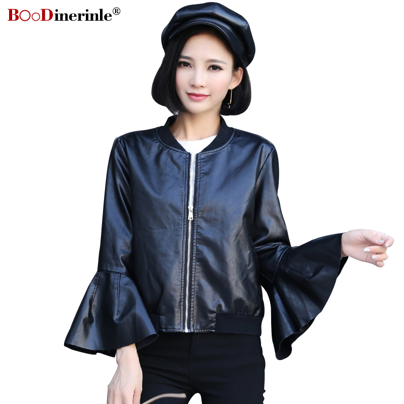 BOoDinerile 2019 Spring Short   Leather   Jacket For Women New Slim Black PU   Leather   Coat Female Casual O-neck Flare Sleeve Jacket