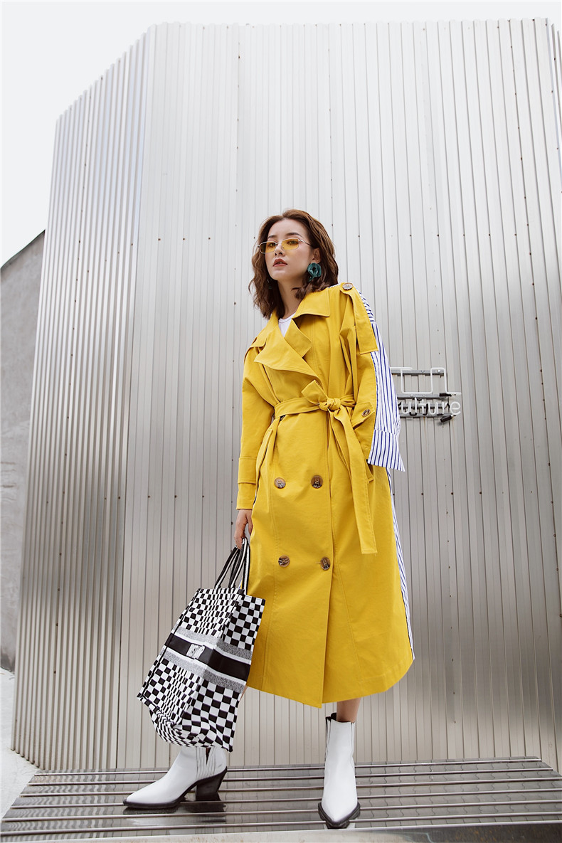 Korean Women Clothes 18 Autumn Windbreaker Female Long Coat New Style Striped Stitching Yellow Winter Trench Coat 12