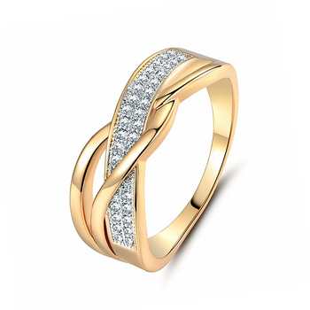 Size 6 7 8 9 10 Gifts Engagement High Quality Valentine Present Rings Silver Women Crystal Golden 1PC Hot Sale Cross Seaside 8