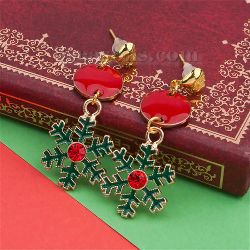 DoreenBeads Earrings Gold Green Christmas Snowflake Round Red Rhinestone Enamel Earrings ,Post/ Wire Size: (21 gauge), 1 Pair