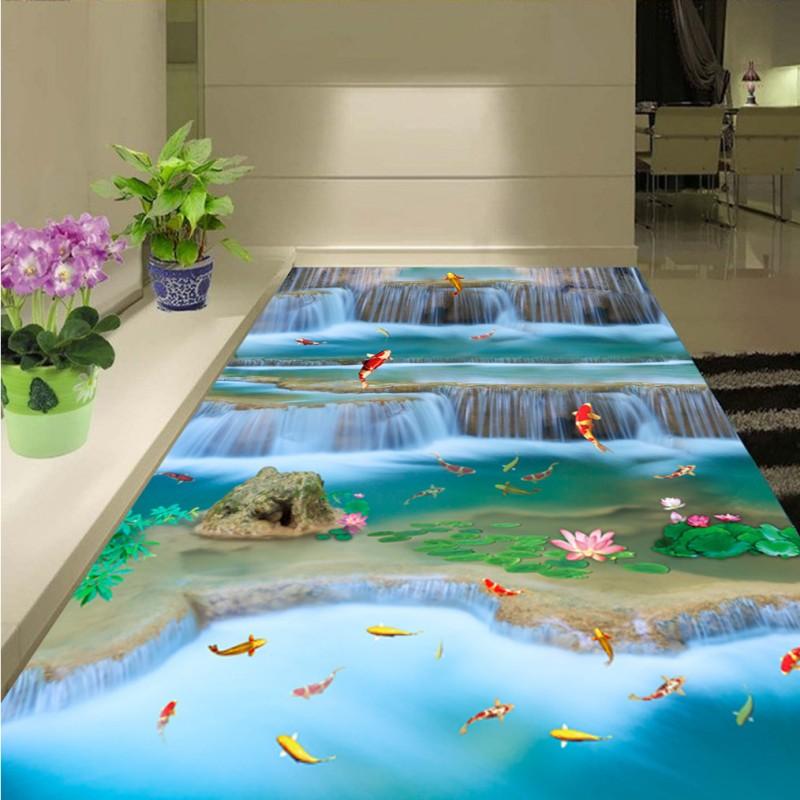 Free Shipping Carp fish jump drangon door landscape 3D flooring painting self-adhesive non-slip wear floor wallpaper mural