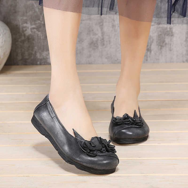 2019 zapatos Vintage zapatos planos de mujer suave y cómoda Flor de mano primavera otoño cuero genuino deslizamiento en las mujeres holgazán