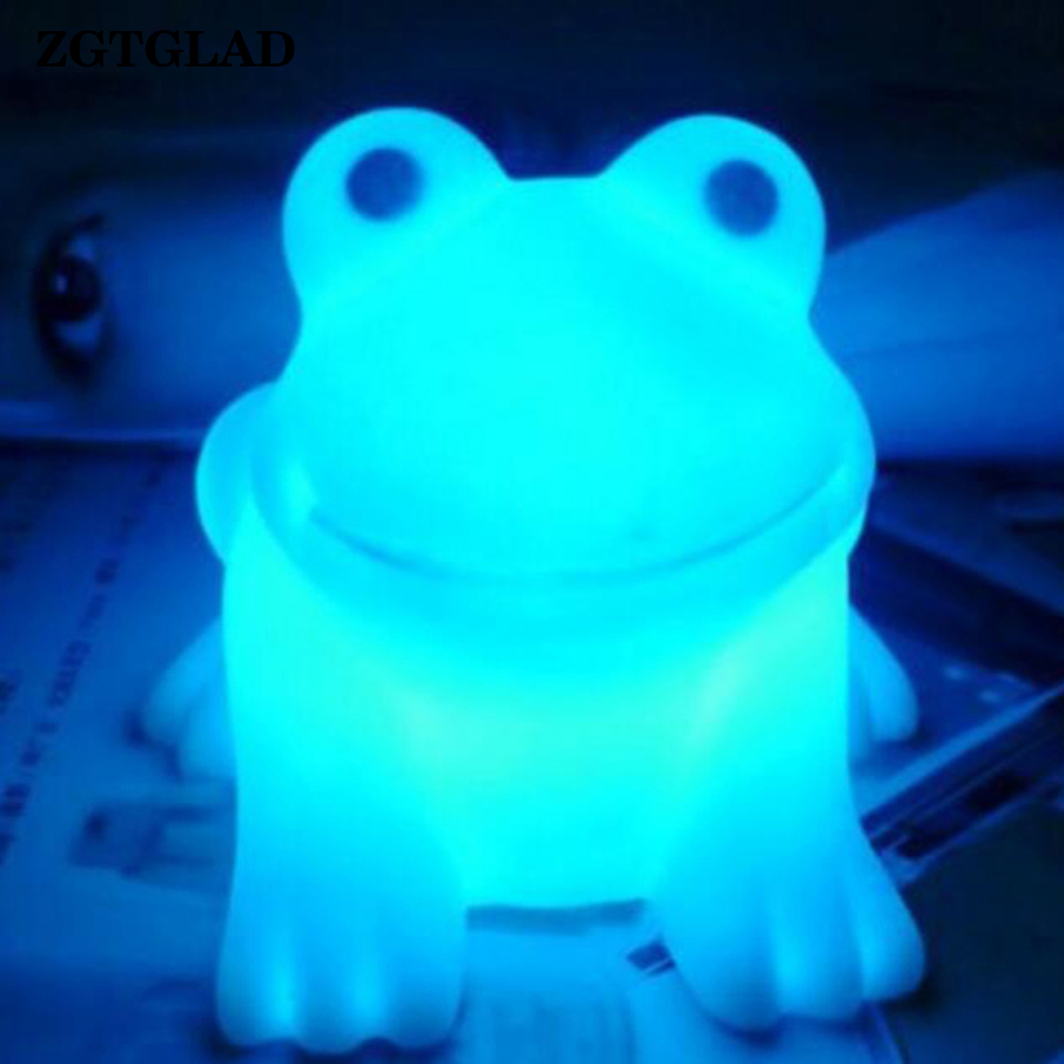 ZGTGLAD 1 Pc High Quality Magic LED Cute Frog Night Light Novelty Lamp Changing Colors Colorful Party Gifts Party Favors