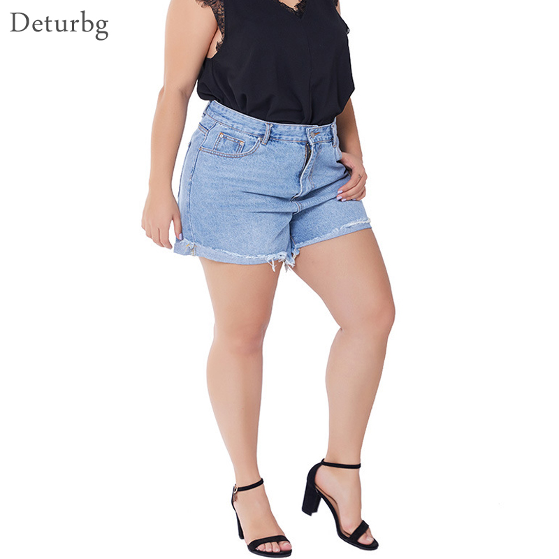 XXXL Womens Plus Size Denim Shorts Female Casual Big Size High Waistd Hemming Jeans Short Biker Shorts Femme 2019 Autumn PA63