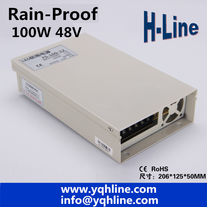 Free Shipping Rain-proof switch Power Supply Driver 48V 2A 100W AC110/220V to 48v CE&RoHS Certified outdoor use (FS-100-48v) free shipping czh618f 100c 100w 2u fm stereo radio transmitter exciter power adjustable from 0 to 100w