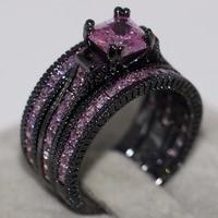 Choucong Винтаж Jewelry 14kt Черный Золото Заполненные Принцесса Cut 5A CZ цирконий 3 в 1 Свадебные Обручение кольцо для подарок любовника
