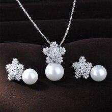 Envío gratis nieve collar de la forma del estilo de moda Zironia perlas de agua dulce aretes de perlas joyería conjunto GLDT0670