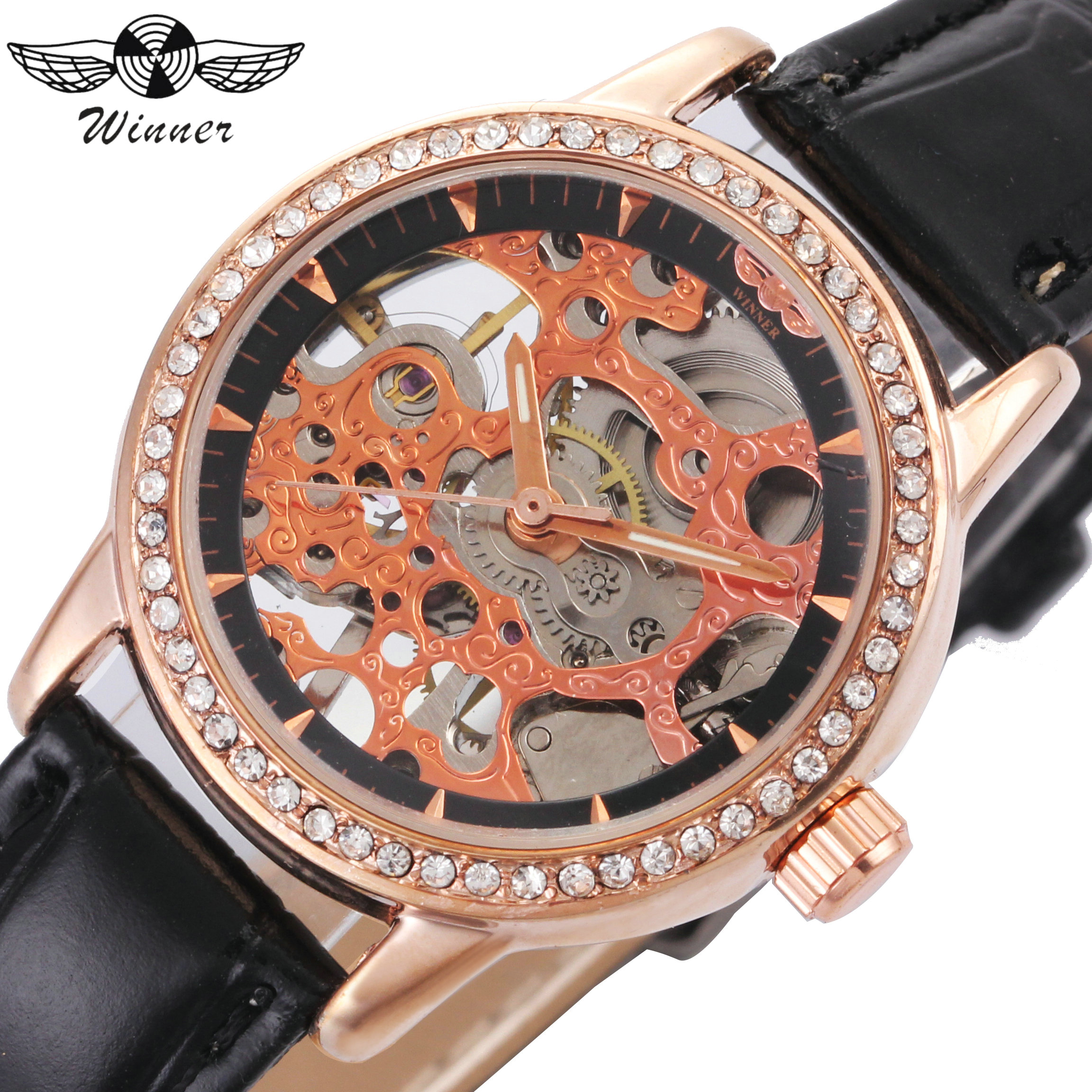 WINNER Women Watches Mechanical Watch Rose Golden Skeleton Dial Leather Strap Crystal Decoration Top Brand Luxury Elegant montre