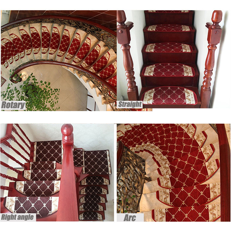 EHOMEBUY Carpet 1 Piece Stair Treads Mat Silicone Strips Non Slip Coffee Carpet For Staircase Home Safe European Romantic Style