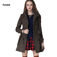 TUHAO Vintage Autumn Winter Coats Women Outerwear Double Breasted Floral Embroidery Slim Blends Wool Coat With