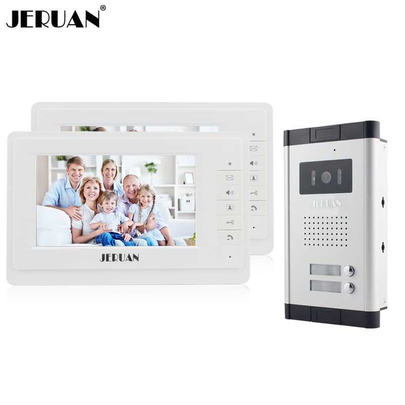 JERUAN New 7 Video Intercom Apartment Door Phone System 2 White Monitor 1 HD Camera for 2 Household In Stock Wholesale marsing b60 6 led 5300lm 3 mode white bike light headlamp black red 6 x 18650