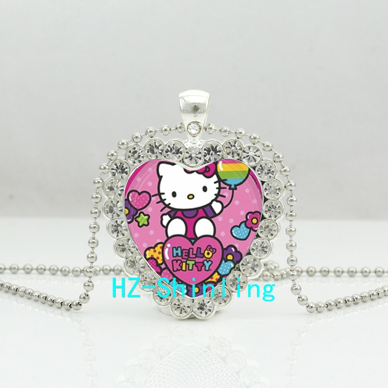 New Lovely Cat Crystal Heart Necklace Cartoon Cat Crystal Jewelry font b Anime b font Murano