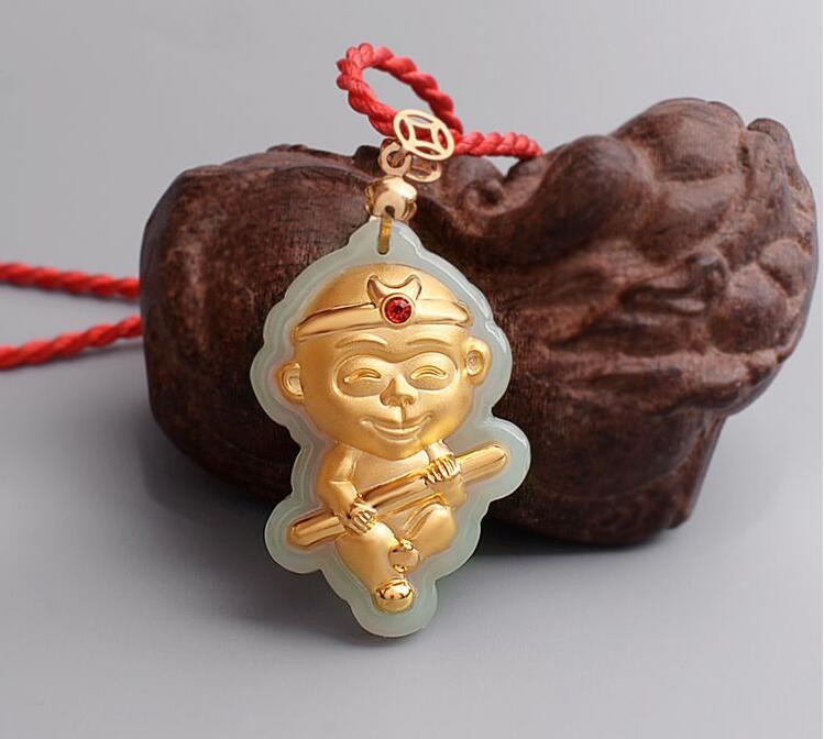Certified 24k yellow gold pendant 100 natural jadeite monkey certified 24k yellow gold pendant 100 natural jadeite monkey pendant in pendants from jewelry accessories on aliexpress alibaba group aloadofball Images