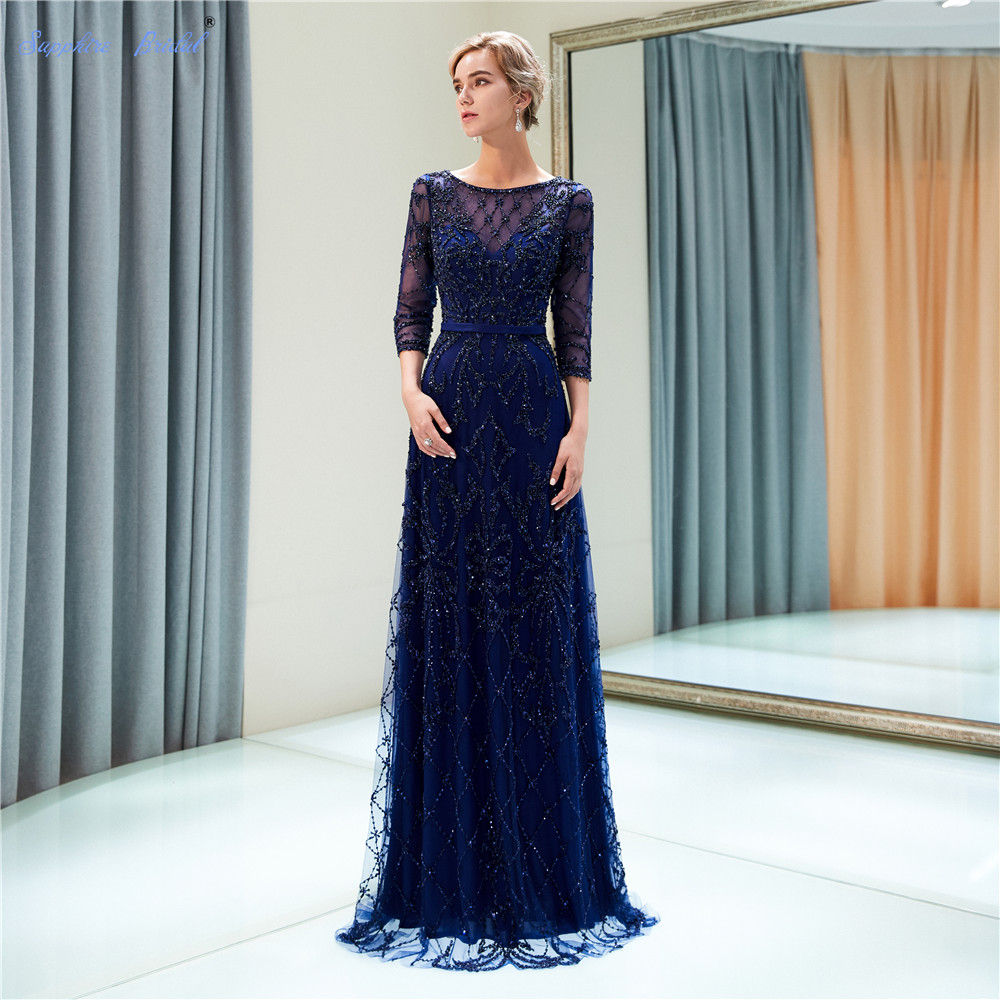 Sapphire Bridal Vestido De Festa 2019 Half Sleeve Gold Navy Champagne Luxury Long Formal Gowns Beads Sexy Long   Evening     Dress