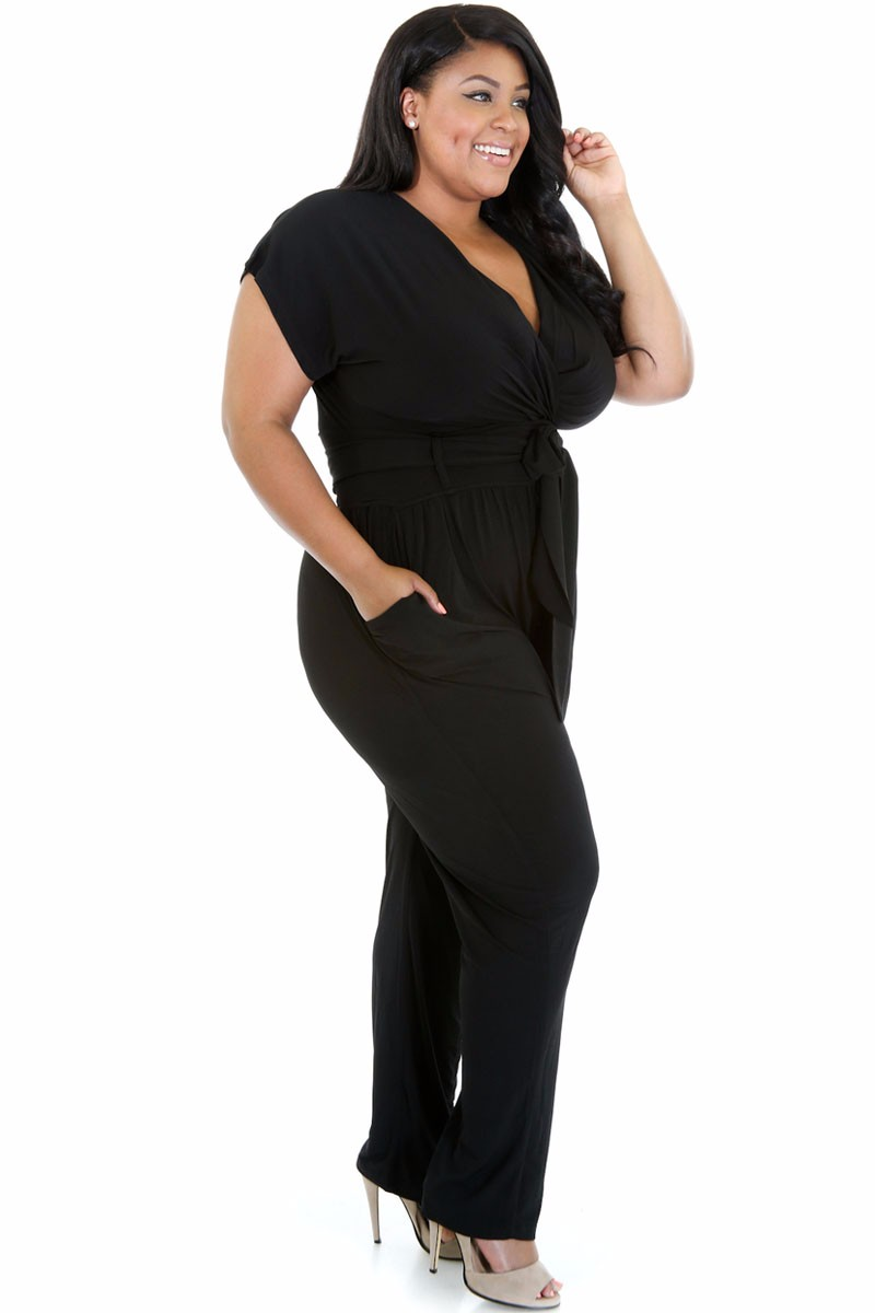 Black-Plus-Size-Belted-Jumpsuit-LC60487-2-2