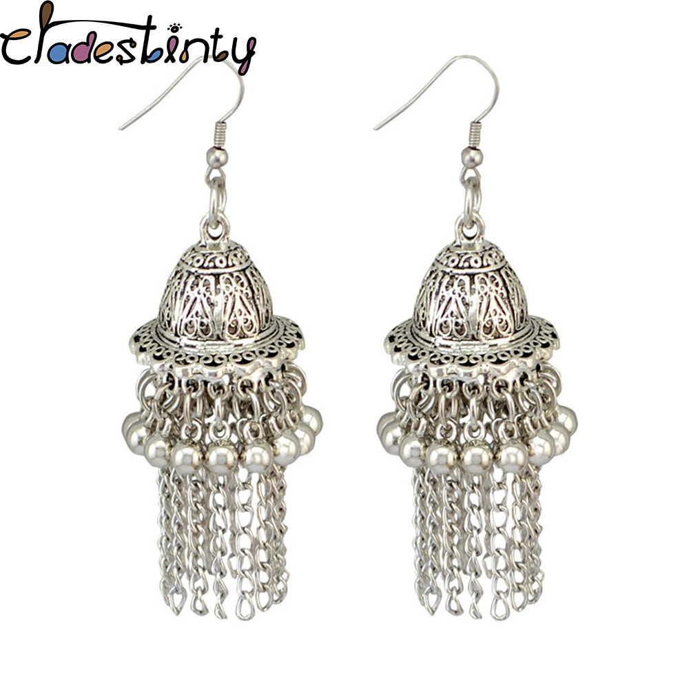 Furniture Bing Tu Bohemia Jewelry Retro Bell Beaded Tassel Earrings Tibetan Silver Round Hanging Pendant Earring Indian Earing Jhumka