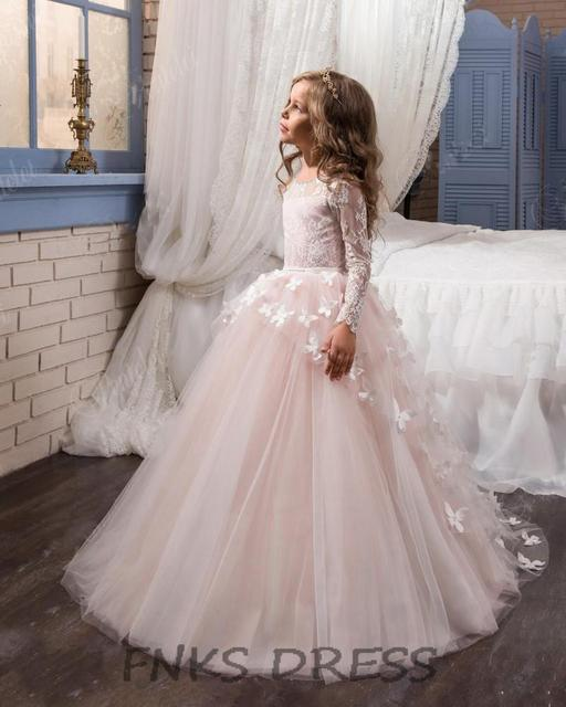 Princess Flower Dress For Weddings Blush Pink Erfly Liques Little Kids Pageant Gown Long Sleeve